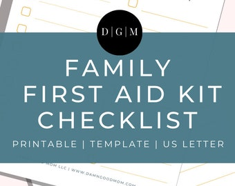 Family First Aid Kit Template Printable | Planner Printables | Family Life Binder Worksheet
