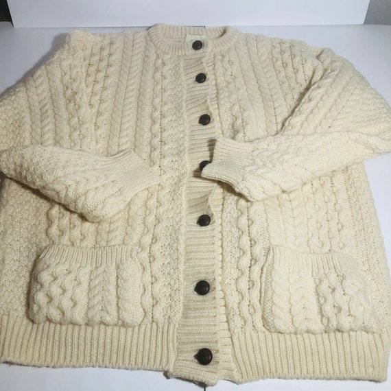 Irish Aran Fisherman Knit Wear Sweater Cardigan Ir