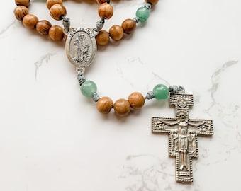 St Francis of Assisi San Damiano Crucifix Catholic Rosary | Wood Bead Rosary | Micro Cord rosary | Catholic gift