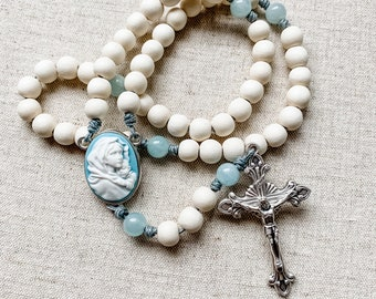 Catholic rosary with blue cameo Madonna of the Streets center, white wood beads and aquamarine gemstone beads and micro cord | Catholic gift