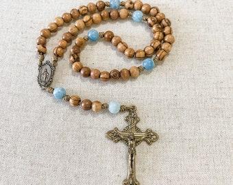 Catholic rosary with Holy Land olive wood beads, aquamarine gemstone beads, bronze tone Miraculous Medal and crucifix, and micro cord