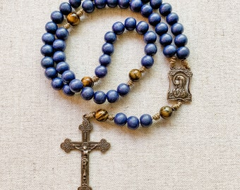 Marian Rosary with bronze rosary parts, cobalt blue wood beads, tigers eye gemstone beads, and micro cord | Catholic gift