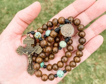 Saint Joseph Rosary made with robles wood beads, African turquoise beads, a Pardon crucifix and micro cord | Catholic gift
