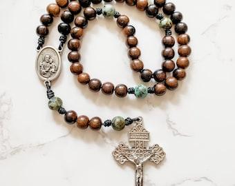 St Joseph Catholic Rosary with ebony wood and African turquoise gemstone beads | Micro Cord Rosary | Pardon Crucifix rosary | Catholic gift