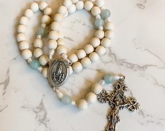 Our Lady of Fatima rosary with white wood beads, aquamarine gemstone beads, and micro cord | Catholic gift