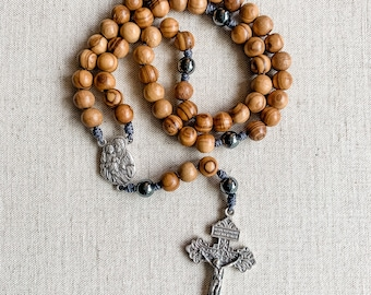 Saint Joseph Rosary with 8mm Holy Land Olive Wood and hematite beads | Micro Cord Rosary | Rosary for men | Catholic gift | St Joseph