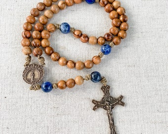 Stella Maris Our Lady Star of the Sea bronze Catholic rosary with Holy Land olive wood beads, sodalite gemstone beads and micro cord