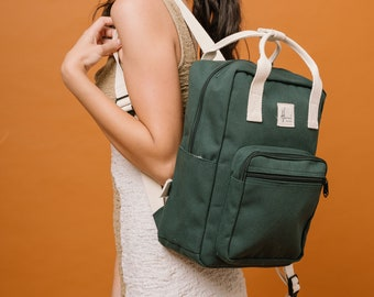 Aki Canvas backpack, Backpack for Women, Travel backpack, Weekend backpack, Gift for Her, Back to School, Fit Laptop 13 inches