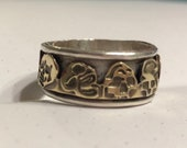 US size 10 Sterling Silver Wide Band Ring with Brass Skull Inlay