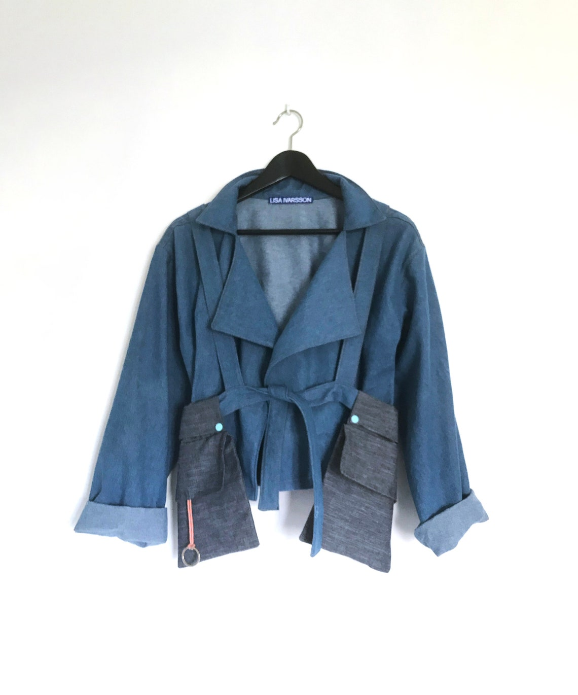 Jeans Jacket - Americano Attachable Backpack/pockets Denim 2 Kinds Of Blue Jackets In 1