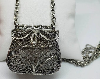 Romantic Necklace pendant Secret Locket Purse. Steampunk Necklace Lovely Brass Pillow Coin Purse Necklace