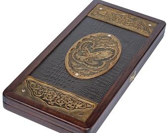 "Golden Eagle Backgammon Board 21"" Game Set, Wood & Crocodile Leather"