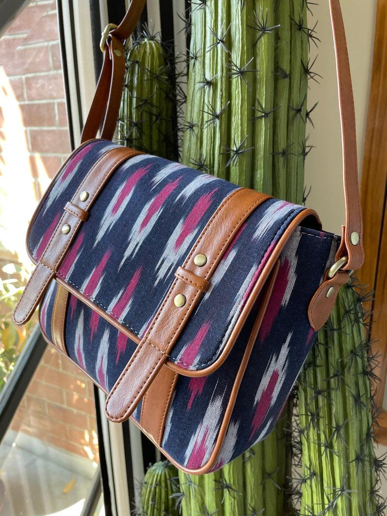handmade vegan purse handbag fabric cross body IKAT crossbody bag gift for her Blue Sling bag Hipster bag