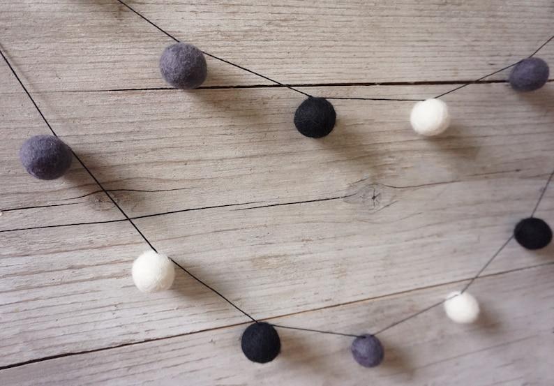 Black and White Easter Boho Bunting Felt Ball Grland Nordic Holiday Decor Pom Pom Garland