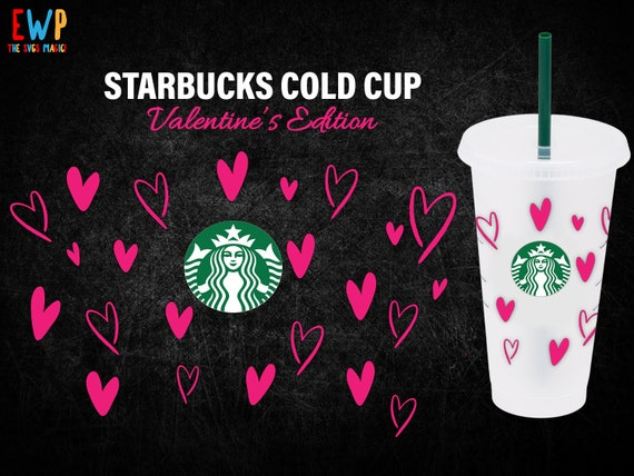 Lips Hearts cup SVG Full wrap SVG files for Cricut 24oz venti cold cup wrap svg svg