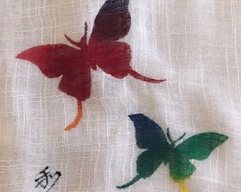 Scarf-Hand painted-Butterfly