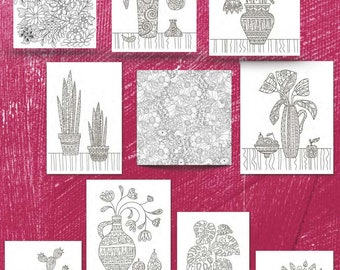 """Ten (10) Simple and Complex Flowers and Cacti Coloring Pages for Download. 8.5"""" x 11"""" printed Volume 1"""