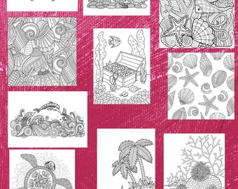 Ten (10) Seaside Themed Simple and Complex Coloring Pages for Download