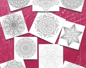 Ten (10) Simple and Complex Snowflakes and Mandalas to download and color for adults Volume 3