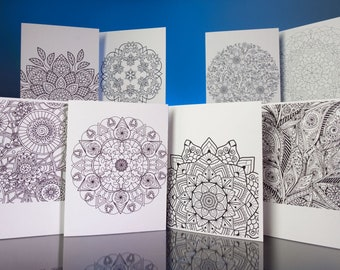 """Stationery Set: 8 Beautiful Hand-drawn Mandela Designs to Color and Share. 5""""x6.5""""  with matching envelopes. VOL.3"""