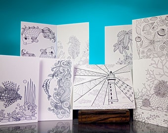 """Stationery Set: 5' x 6.5"""" Lovely Seaside Designs to Color and Send. VOL. 4"""