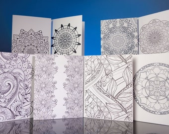 """Stationery Set: 8 5""""x6.5"""" bright white note cards with adult coloring designs and matching envelopes VOL 1."""