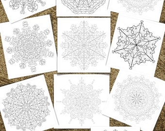 """Ten (10) Simple and Complex Snowflakes and Mandalas to Color - 8.5"""" x 11"""" Printable Coloring Pages, Volume 8"""