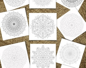 """Ten (10) Mandalas and Snowflakes Adult Coloring Pages for Download. 8.5"""" x 11"""" printed Volume 7"""