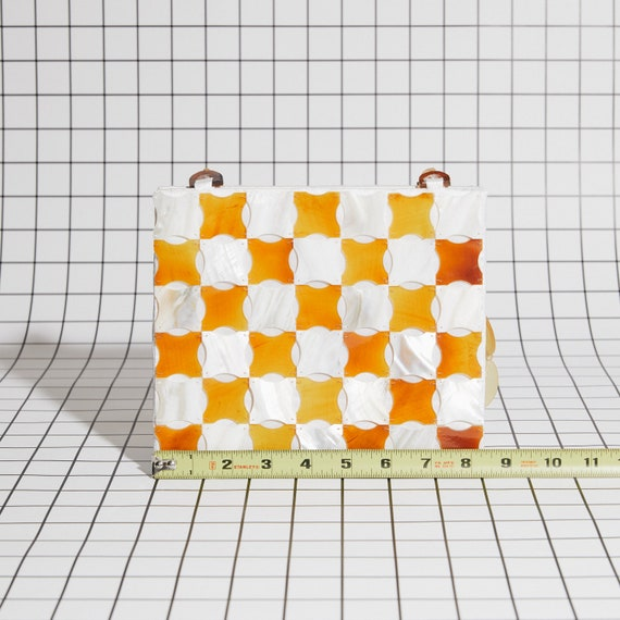 Vintage Shell Checkered Purse - image 2