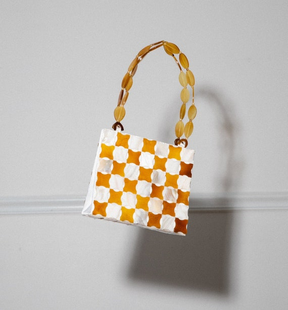 Vintage Shell Checkered Purse - image 1