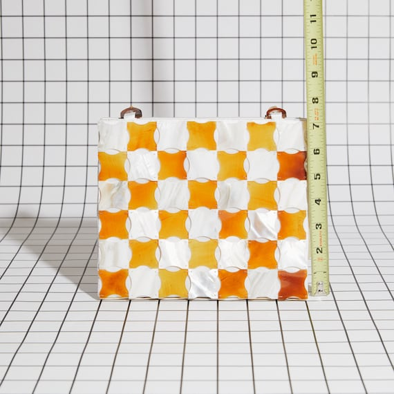 Vintage Shell Checkered Purse - image 4
