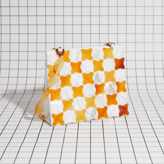 Vintage Shell Checkered Purse - image 3