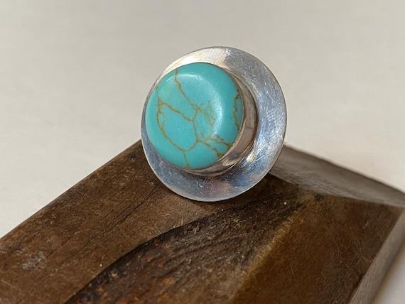 Vintage Modernist Turquoise & Sterling Silver Ring
