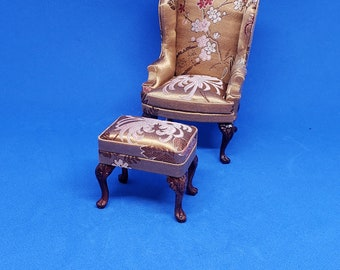Dollhouse Miniature 1/12 Scale Bespaq Wingback Chair and Footstool