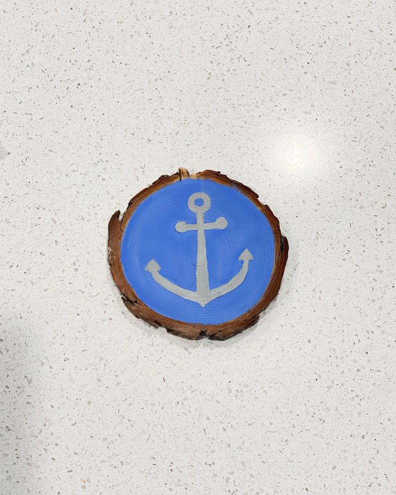Nautical Decor Wood Slice Painting Painted Wood Slice Coaster Blue Anchor Wood Slice Coaster