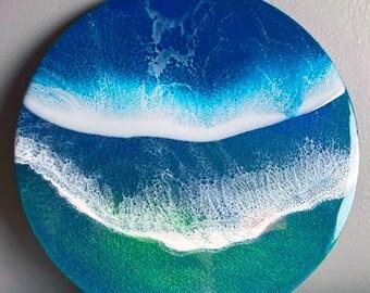 10x10 Resin Artwork - Original Ocean Waves Art