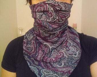 Large 3 Layer Scarf Mask, adjustable, nose wire, filter pocket, paisley, stylish,, reusable, Canada, USA