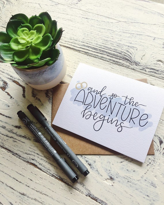 And So The Adventure Begins Wedding Greeting Card Wife Wedding Card Engagement Card Husband Card Wedding Card For Couple Wedding Gift