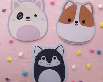 Squishmallow Puppy Dog Stickers - Corgi American Terrier Husky - Kawaii Doggy Sticker Pack