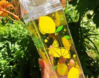 Lemon Squeeze Milk Carton Water Bottle - 16 fl oz. Plastic Kawaii Cute Water Bottle