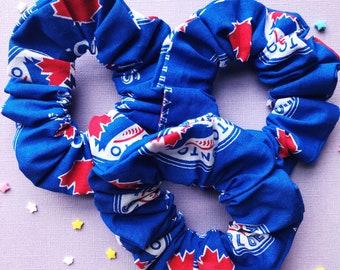 Hair Scrunchies | Toronto Blue Jays | Hair Ties | Hair Elastics | Handmade Hair Accessories | Handmade Scrunchies