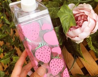 Strawberry Cow Milk Carton Water Bottle - 16 fl oz. Plastic Kawaii Cute Water Bottle