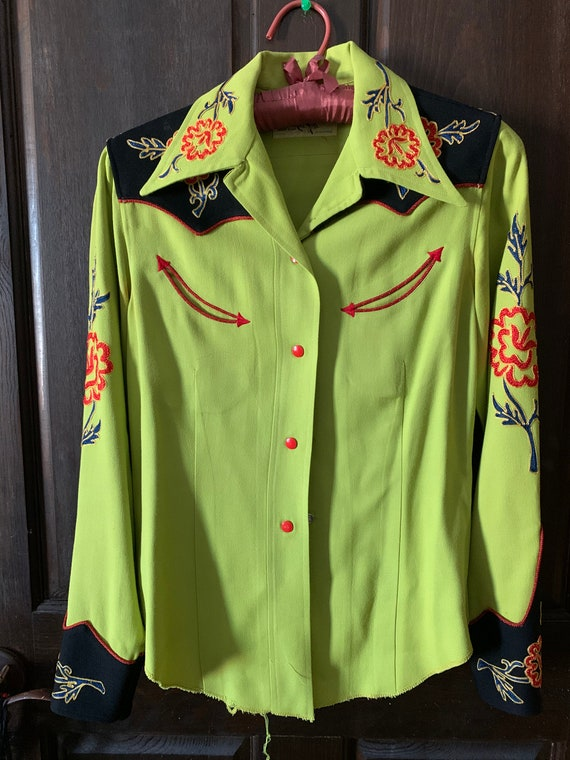 Vintage Wool Women's Embroidered Western Shirt...S