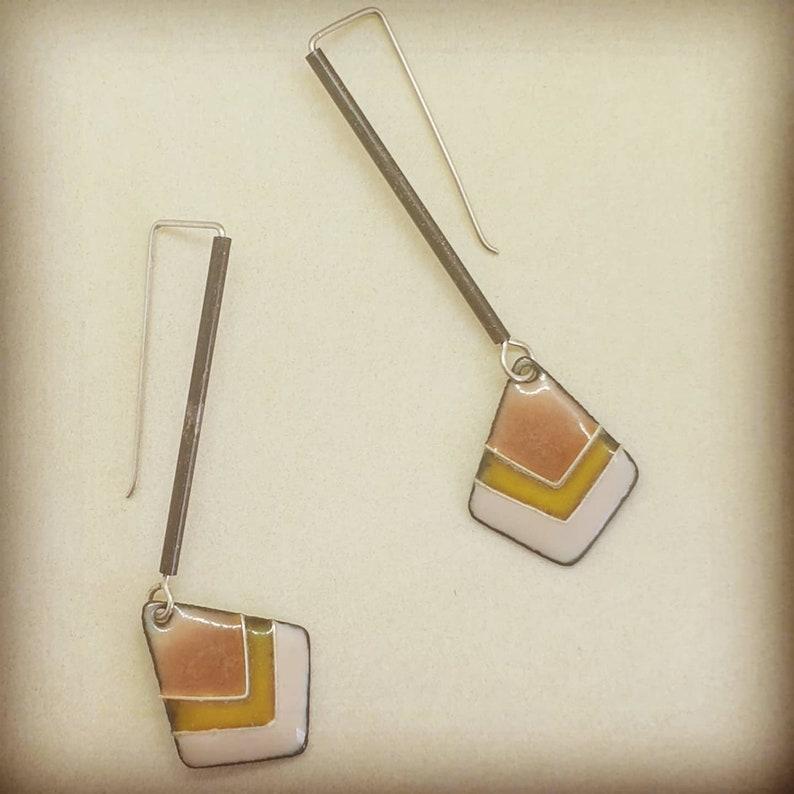 Enamelled diamond earrings