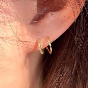 Double Piercing Earrings Sterling Silver Two Hole Earrings EAR152WCZ Gold Plated White Zirconia Spiral Hoops