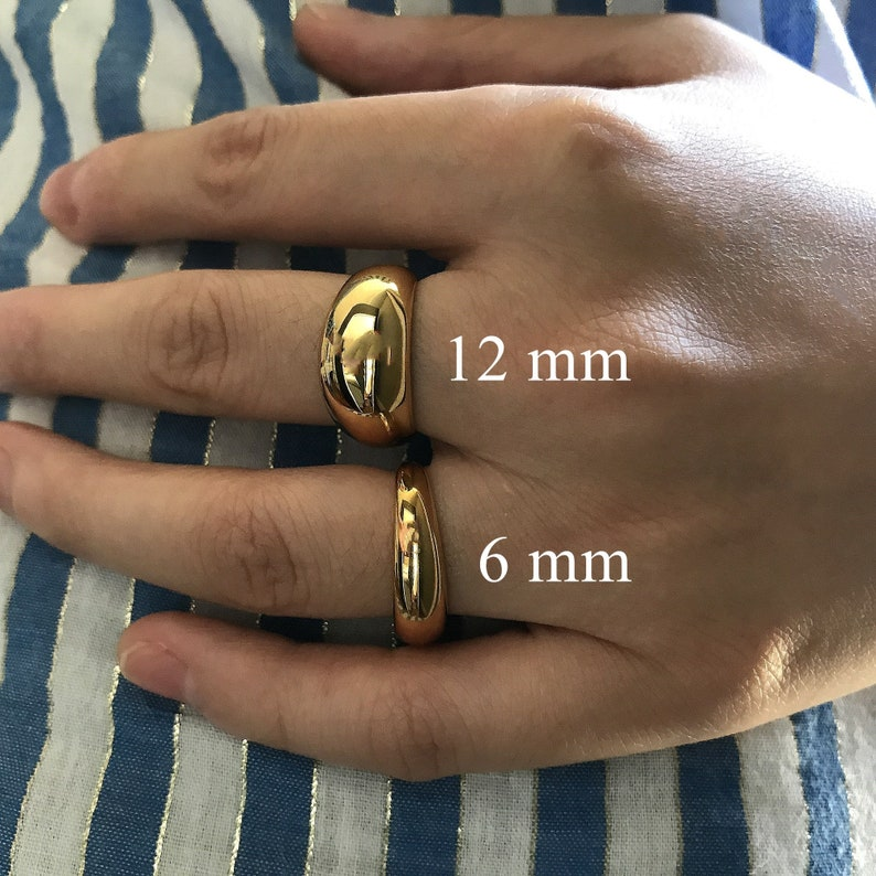 Charlotte Ring Gold Chunky Wide Dome Ring Statement Gold Ring Two Sizes Gold Plated Chunky Simple Dome Ring