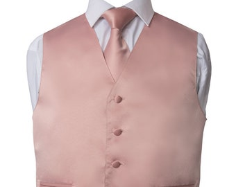 Mens Vest Silver Satin And Covered Buttons Vest Comes With Matching Tie And Pocket Square