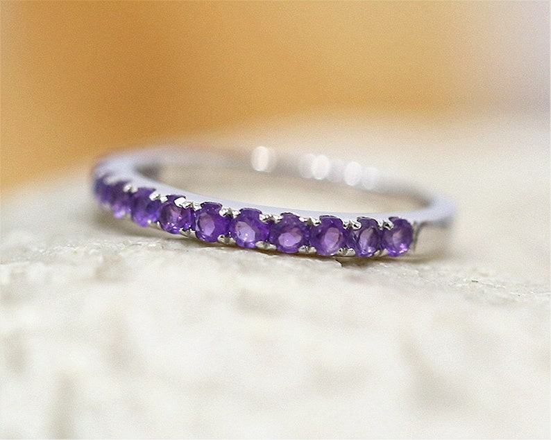 Amethyst Ring Half Eternity Matching Ring Vintage Wedding Band Stackable 14K White Gold Ring Anniversary Gift Birthday Present Holiday Gift