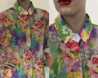 Vintage 1990s Penny Mitchell Adelaide Floral Chiffon Shirt or Blouse in Cotton Voile, New, with Tags