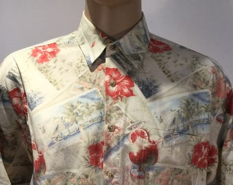 Vintage 1980s Pierre Cardin Hawaiian Style Aloha Shirt in Graphic Red and White Postcards, Flowers & Cocktails Motif in 100% Rayon